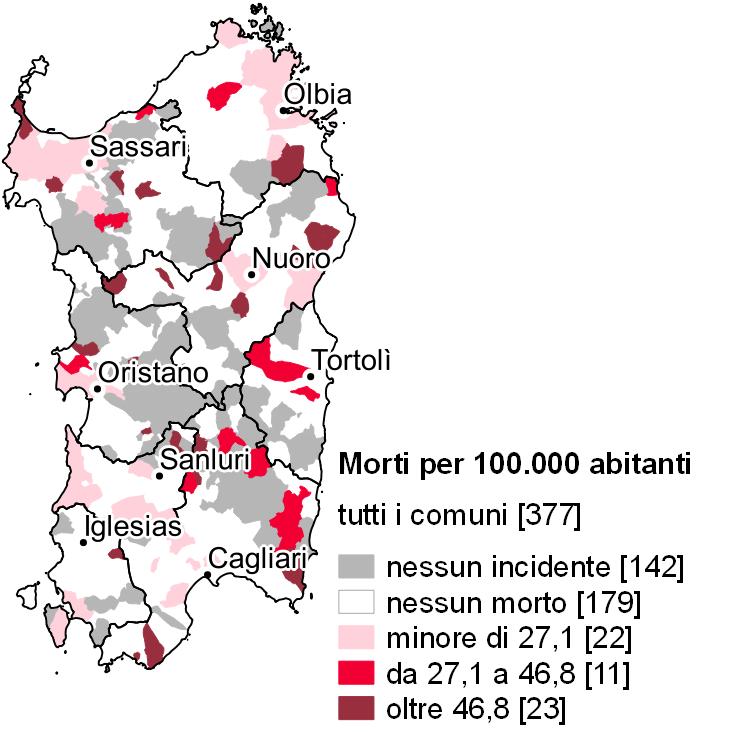 Cartina Sardegna 2017.Incidenti Stradali In Sardegna